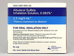 ALBUTEROL INHAL 0.083%, 2.5MG 3ML, 25/BX