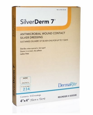 DRESSING, SILVERDERM 7, 4X4 ANTIMICROBIAL 10/BX