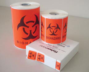 LABEL, BIOHAZARD 1X1 RED 1000/PK