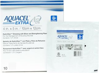 DRESSING, AQUACEL AG 4x5 EXTRA HYDROFIBER ANTIMICOBIAL, 10/BX