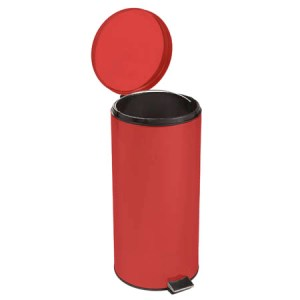 WASTE CAN, RED 32 QT STEEL  ROUND EACH