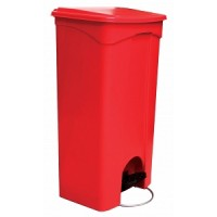 TRASH CAN, PLASTIC RED STEP-ON, EACH