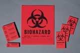 LABEL, BIOHAZARD 1X3 RED 100/BX