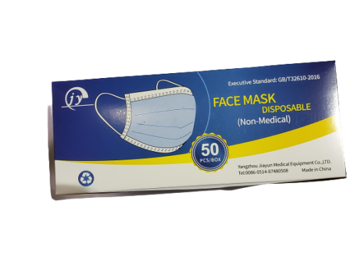 MASK, EARLOOP 3PLY, DISPOSABLE, LF,  50/BX
