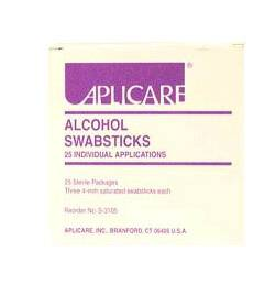 SWABSTICK, ALCOHOL IMPREGNATED 3/PK, 25/PK/BX