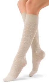 SOCK, SOSOFT 8-15MMHG, BLACK, MED BROCADE KNEE HIGH PAIR